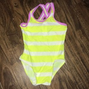 Bright striped one piece swim suit
